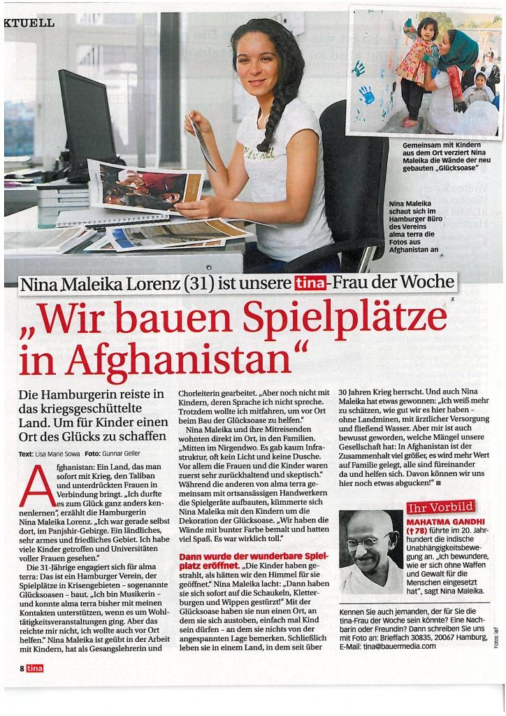 Beitrag über Nina Maleika Lorenz in der tina, 17.04.2013